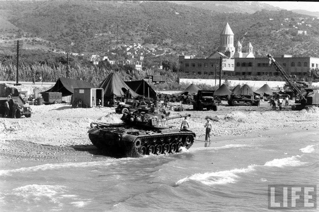 A USMC M48A1 on Lebanese shores north of Beirut, Antelias area.